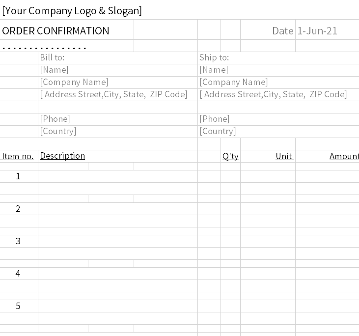 order confirmation format