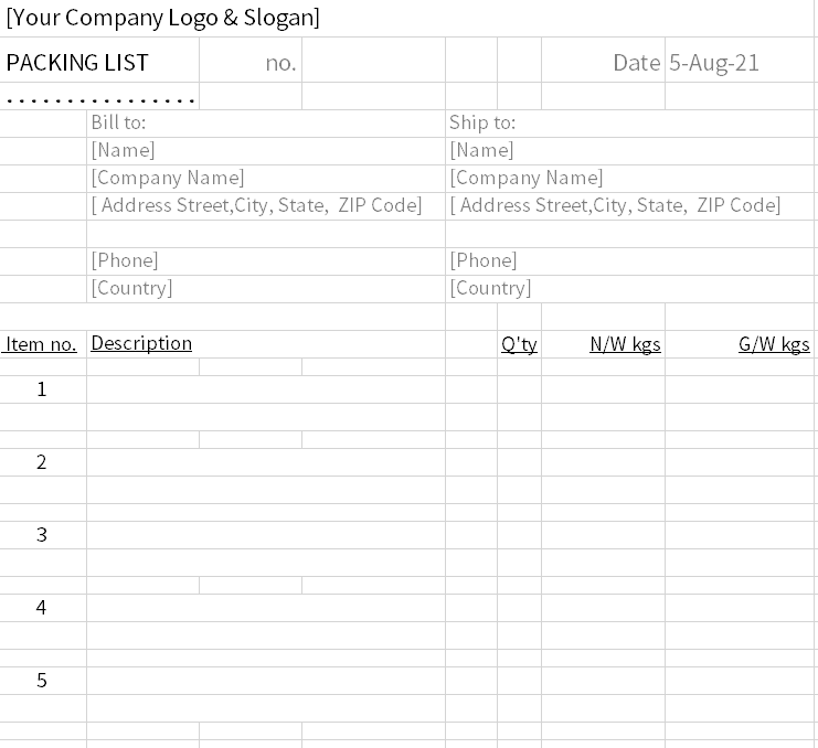 Packing list format
